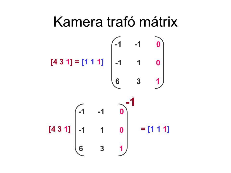 Kamera trafó mátrix -1 -1 -1 0 -1 1 0 6 3 1 [4 3 1] = [1 1 1] -1 -1 0